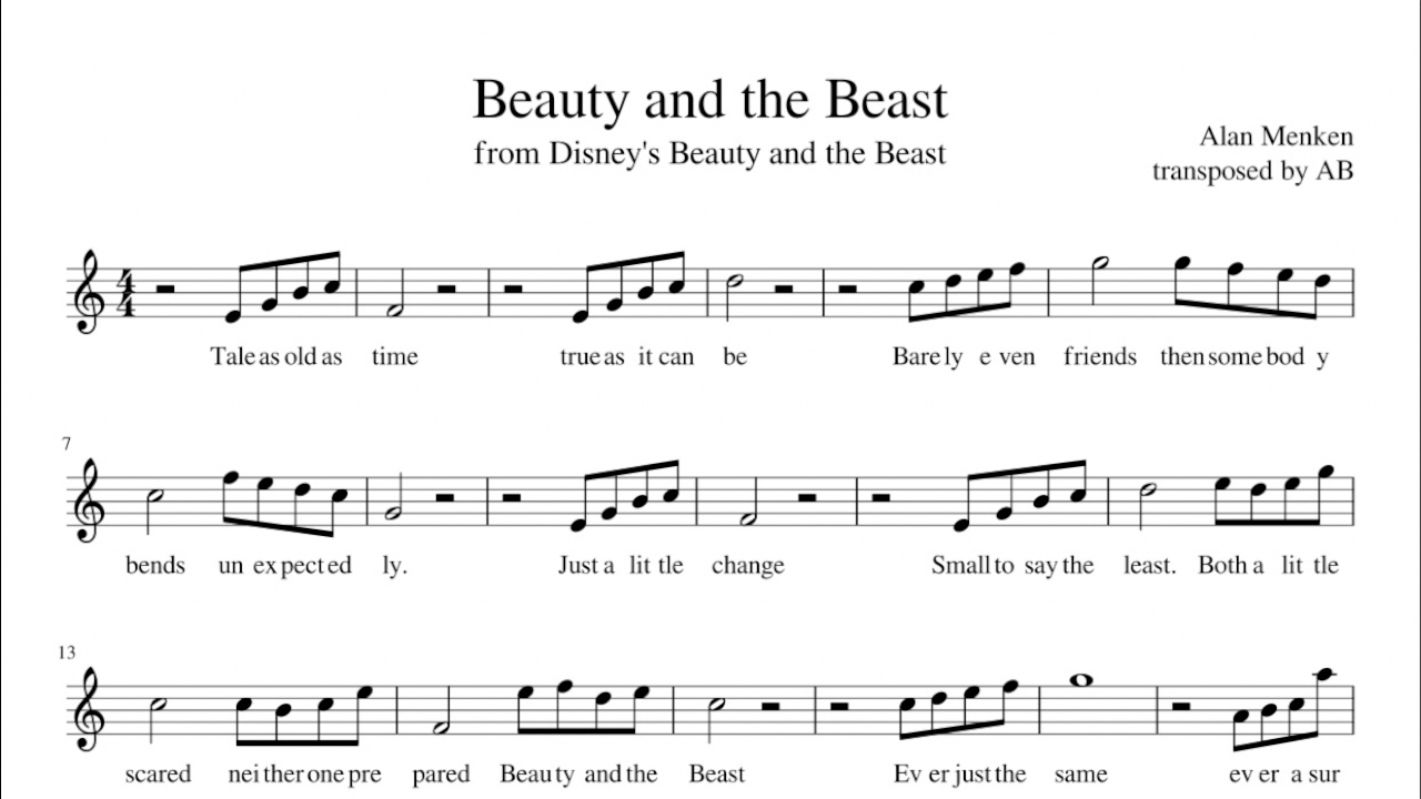 graphic regarding Beauty and the Beast Piano Sheet Music Free Printable titled \