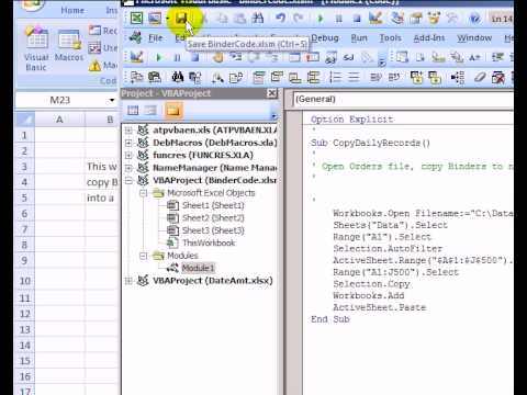 Edit an Excel Macro and Test the Excel Macro