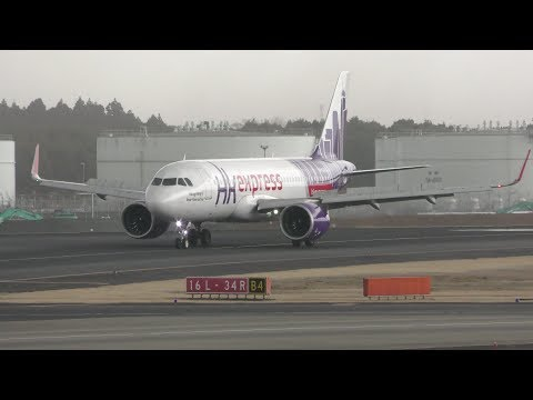 4K] A320neo Hongkong Express B-LCL landing @Narita Airport rwy34R ...