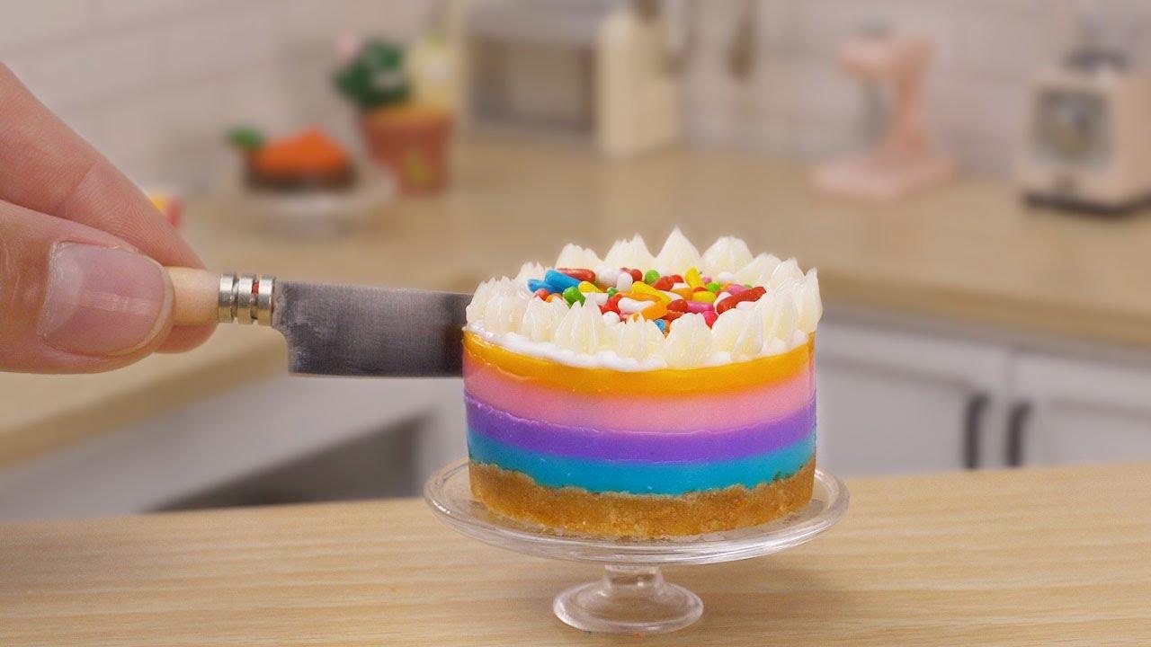 Fancy Miniature Rainbow Mousse Cake Decorating | So Tasty Miniature Colorful Mousse Cake Recipe