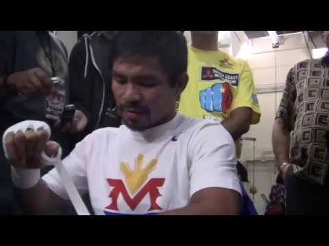 Manny Pacquiao Answers Questions While Wrapping His Own Hands!