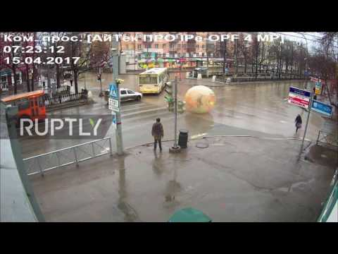 Viral: Man rolls through Perm's city centre in giant blow-up ball