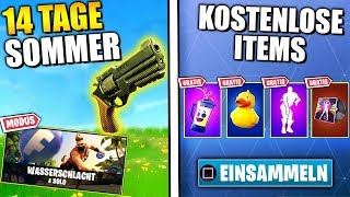 14 Days Summer Fortnite 😱 FREE ITEMS, New Skins, New Revolver & Challenge | German