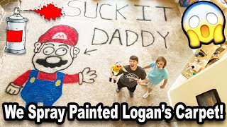 WE SPRAY PAINTED LOGAN'S CARPET!!! *BTS*