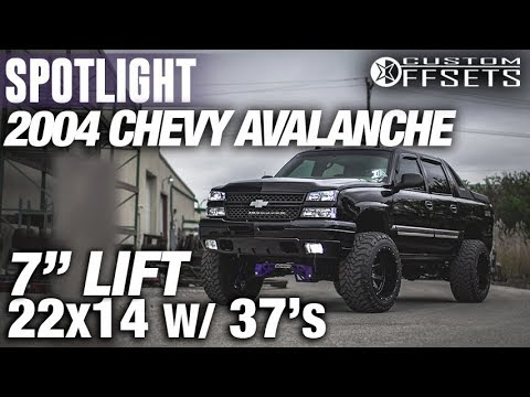 """Halloween Edition Spotlight - 2004 Chevy Avalanche 1500, 7"""" lift, 22x14 -76's, and 37s"""