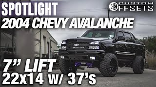 "Halloween Edition Spotlight - 2004 Chevy Avalanche 1500, 7"" lift, 22x14 -76's, and 37s"
