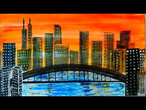 watercolour painting United states dreams city(USA) by shant