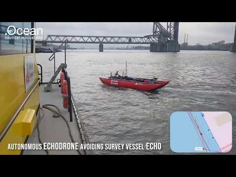 Autonomous Echodrone Avoiding Survey Vessel Echo in busy port