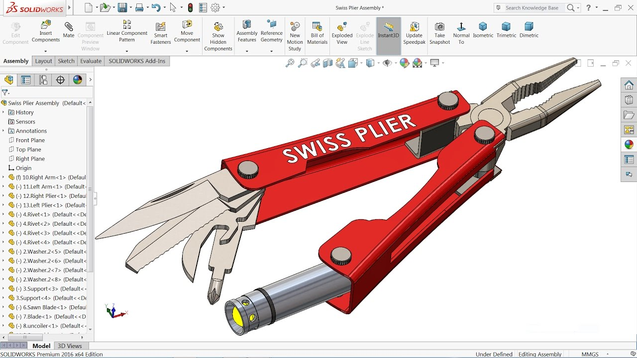 Solidworks Tutorial Design And Assembly Of Swiss Pliers