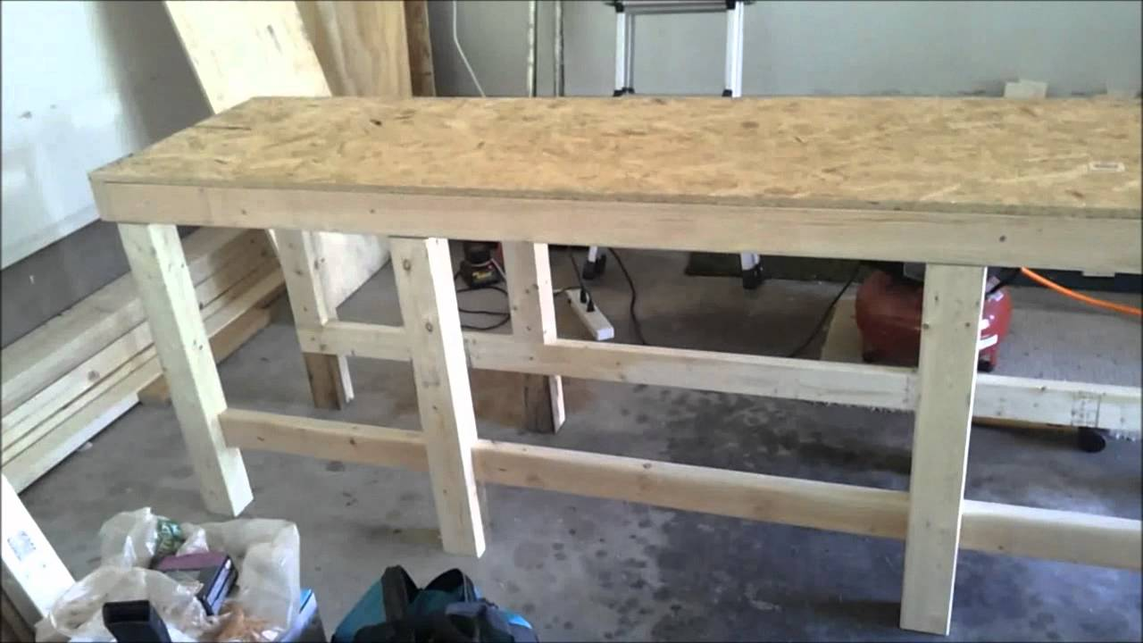 Build plywood 2x4 workshop benches for $75 each - YouTube