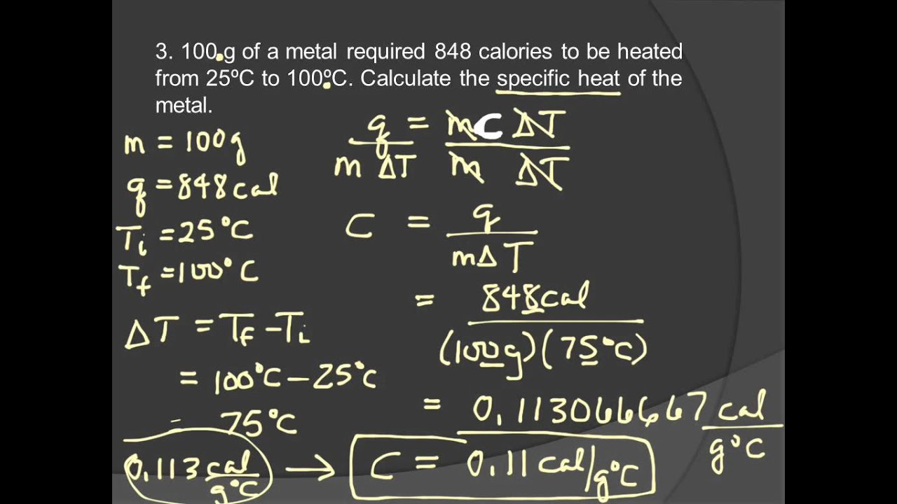 20t Specific Heat Worksheet