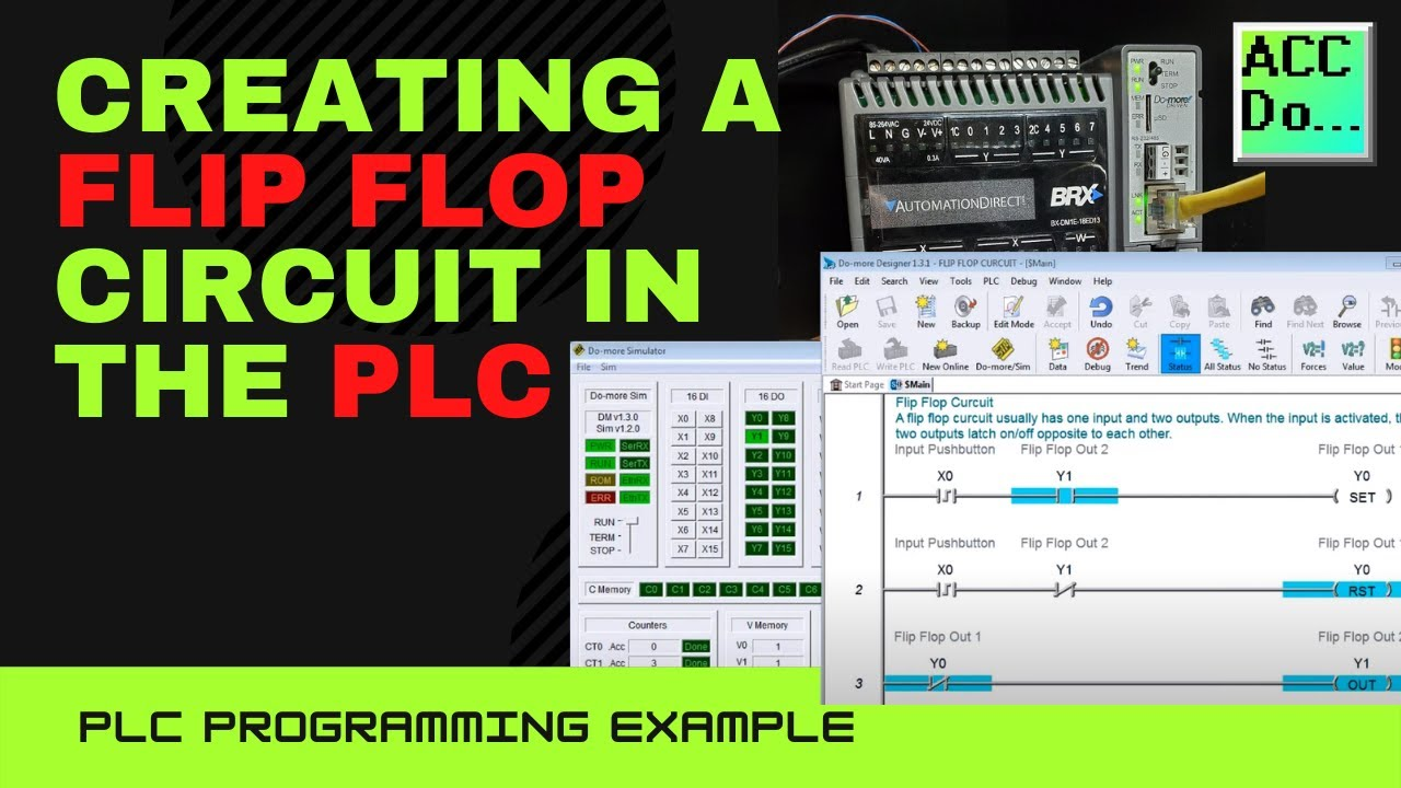 Creating A Flip Flop Circuit In The Plc Youtube Relay Logic Circuits