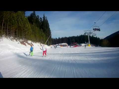 Bansko ski slope 5, end at slope 1, finish at Bunderishka polyana - Bansko february 2017. skijanje