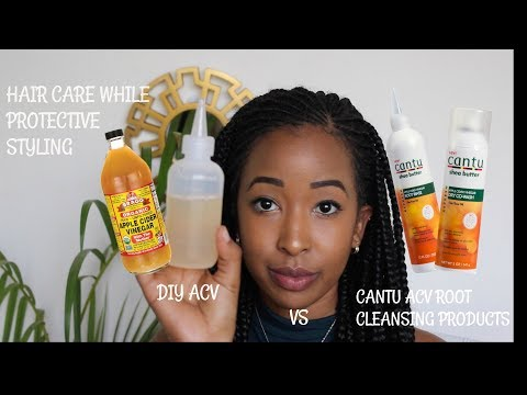 KEEP YOUR HAIR CLEAN AND MOISTURISED WHILE IN BRAIDS | ACV vs Cantu Root Rinse & Dry Co-wash