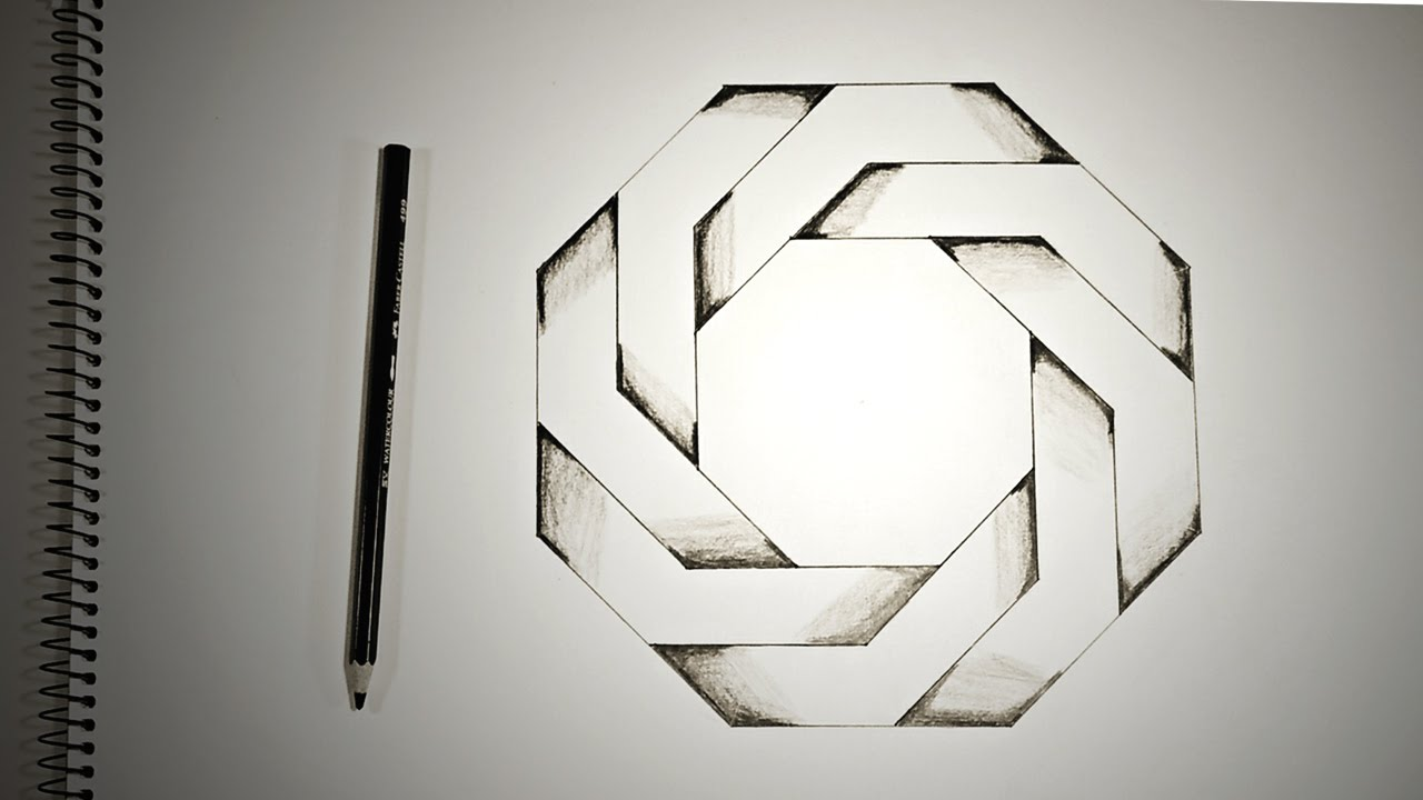 optical drawings illusion octagon illusions drawing impossible twisted draw pencil hole colored similar posts