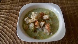 Суп пюре из брокколи с сухариками/purees soup with broccoli with croutons