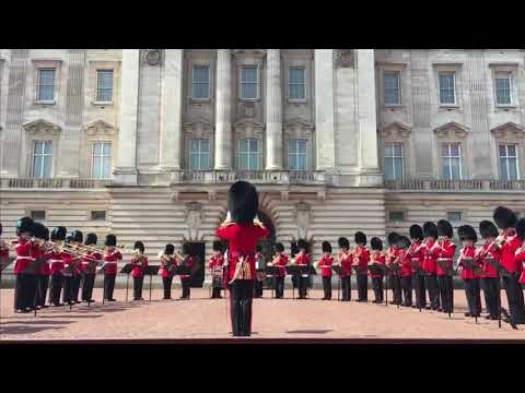 Band of the Irish guards plays happy birthday outside Buckingham palace for the Queens birthday