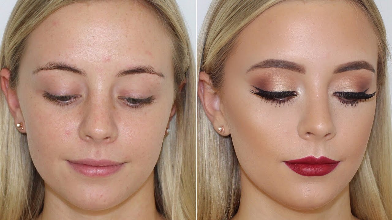 Gold Eyes and Bold Lip Client Makeup Tutorial ? Jasmine Hand ...