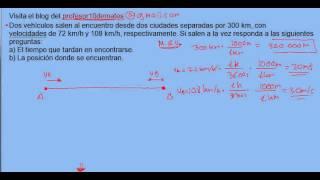 ejercicio , problema resuelto de cinemática 04 movimiento rectilinio uniforme M R U