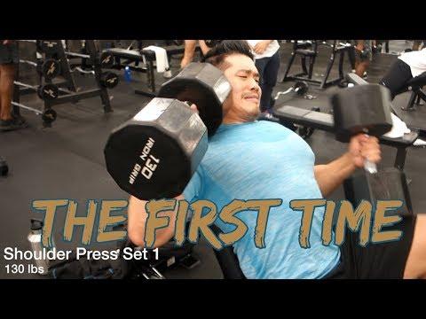 130 lb Dumbbell Shoulder Press