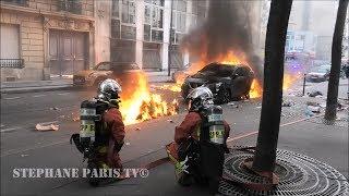 acte13 gilets jaunes ,Pompiers de Paris sur feu de voiture