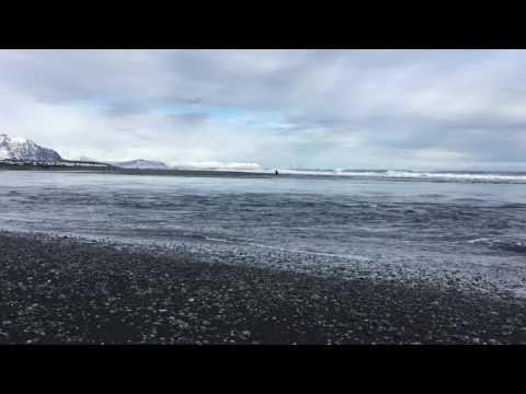 Glacier lagoon mixing with Atlantic Ocean
