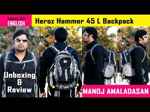 Heroz Hammer Backpack | 45 L Slim Grey and Black Travel Laptop Unisex Backpack | Tamil