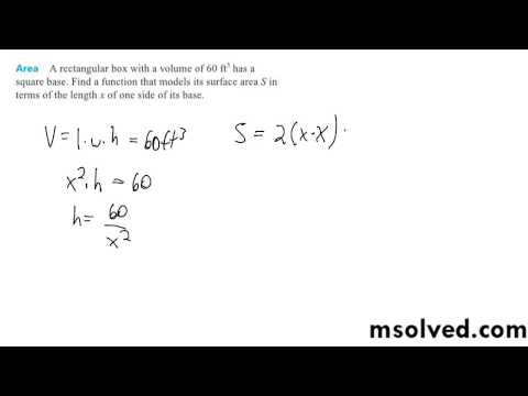 Find A Function That Models Its Surface Area S In Terms Of