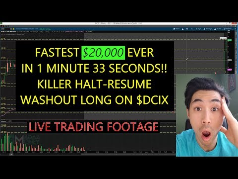 FASTEST $20,000 EVER in 1 Min 33 Sec! - KILLER Halt-Resume Washout Long on $DCIX - 11/6/17