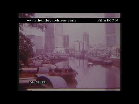 Singapore. City, docks and junks, 1982.  Archive film 96714