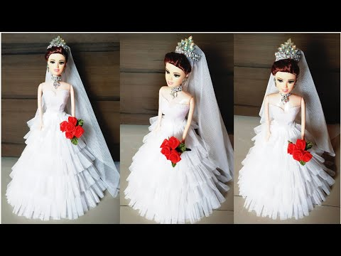 How to Decorate Christian Bridal Doll/Barbie Doll White Gown Making/DIY Bridal Doll Decoration