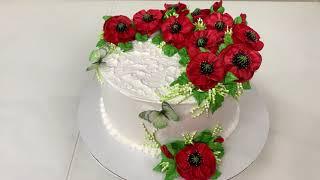 МАКИ из БЕЛКОВОГО Крема Красивый торт