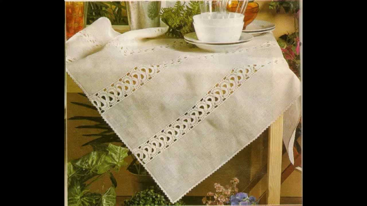 Como Hacer mantel de Lino con entredos a crochet - YouTube
