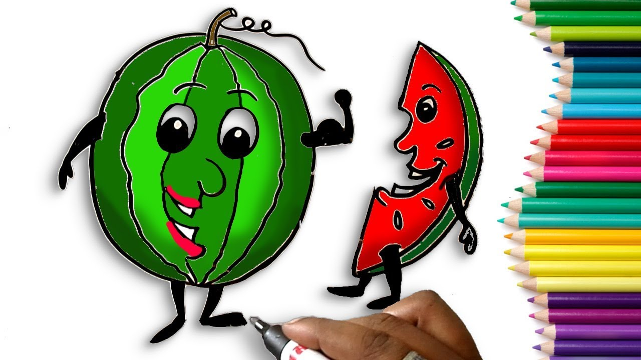 How to Draw a Watermelon Step by Step Easy for Children - Learn to ...