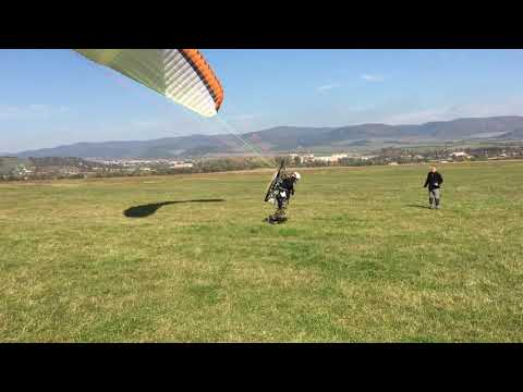 PPG MotorParagliding start from flat ground in Slovakia at Šariš area of Sabinov Oct2017