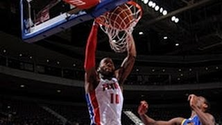 Brandon Jennings Goes Behind the Back to Greg Monroe for the Jam