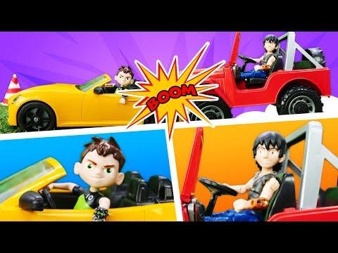 Видео про машинки и аварии. Игрушки из мультфильмов. Кевин и Бен Тен соревнуются!