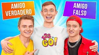 AMIGOS REALES VS. AMIGOS FALSOS || Ideas de bromas increíbles y situaciones divertidas por 123 GO!