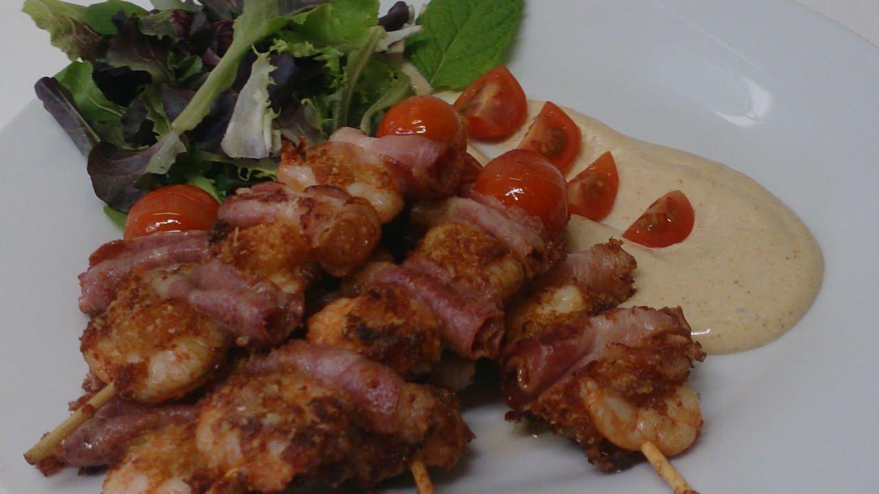 Brochetas de langostinos bacon y tomatito cherry con - Brocheta de langostinos y bacon ...