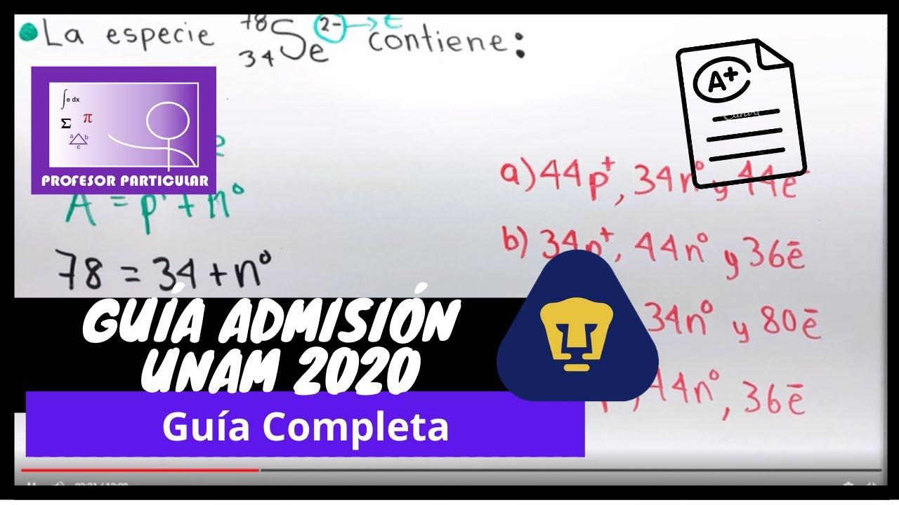 ⚫GUÍA COMPLETA UNAM 2020   Matemáticas,Física y Química   Profesor Particular