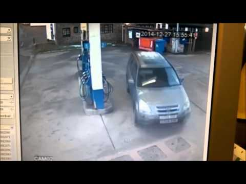 Why the Petrol cap keep flipping sides Benny Hill Version
