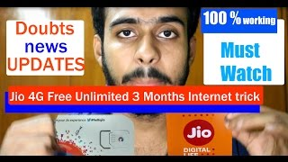 reliance jio 4g free unlimited 3 months internet trick new updated very helpful 100 working