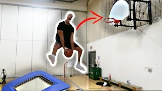 Trampoline basketball trickshots!! (dunk contest)