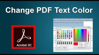How to Change Text Color of PDF document in Acrobat Pro DC