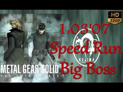MGS The Twin Snakes Speed Run 1:03'07 Big Boss Wii HD