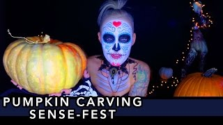Pumpkin Carving ASMR Sense-Fest [Scratching] [Tapping] [Fiber Sounds] [Stickers]
