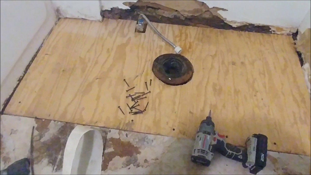 How to repair a rotted floor under the toilet youtube - How to replace subfloor in bathroom ...