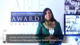 Kiran Mazumdar-Shaw receives the ABLF Outstanding Business Achiever Award 2015