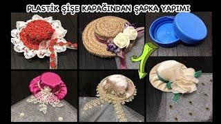Plastik Şişe Kapağından Mini Şapka yapımı, Nikah şekeri / DIY Miniature Hat from Plastic Bottle Cap
