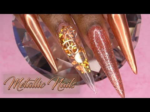 Acrylic Nails Tutorial - How To Metallic Copper Nails with Nail Forms - Encapsulated Gears Steampunk